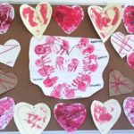 Our Valentines Day Art board, focuses on learning shapes. (Heart) while promotong creativity, imagination and further developing fine motor skills. These activities connect to the EYLF Learning Outcome 4: Children are confident and involved learners.