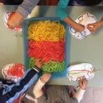 Story Telling - Elmer Rainbow Spaghetti play, this experience involves children learning about their senses and boost their creativity and imaginative thinking. (sustainability practices in place to re-used Spagetti as pet food and compost to reduce wastage.) This activity connects to multiple EYLF Learning Outcomes: 2 Children are connected and contribute to their world. 4 Children are confident and involved learners.
