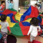 Rainbow Parachute group time helps children to socialise in a large group and work on their team work skills, coordination and gross motor development. While also connecting to the EYLF Learning Outcome 3: Children have a strong sense of wellbeing.