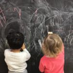 Getting creative on our Black board drawing wall allows young children to express their artistic side and work on their growing fine motor skills. This activity connects to the EYLF Learning Outcome 4: Children are confident and involved learners.